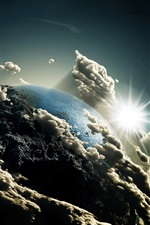 Preview iPhone wallpaper Earth, clouds, sun, universe