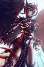 Preview iPhone wallpaper Fantasy warrior girl, armor, wings, sword