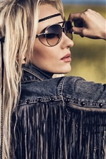 Preview iPhone wallpaper Fashion girl, hippie, posture, glasses