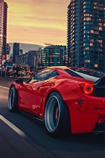 Preview iPhone wallpaper Ferrari 458 Italia red supercar, rear view, city, night