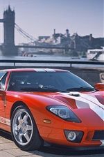 Preview iPhone wallpaper Ford GT orange race car