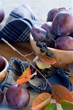Preview iPhone wallpaper Fruits, plum, berries, twigs, leaves