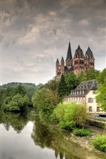 Preview iPhone wallpaper Germany, Limburg, cathedral, castle, Lena river, trees
