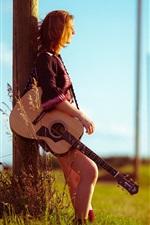 Girl, road, guitar