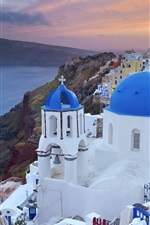 Preview iPhone wallpaper Greece, city, coast, houses, dusk