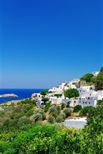Preview iPhone wallpaper Greece, fortress, coast, houses, trees, blue sky