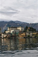 Preview iPhone wallpaper Italy, San Giulio island, mountains, houses, trees
