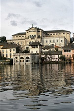 Preview iPhone wallpaper Italy, San Giulio island, trees, houses, water