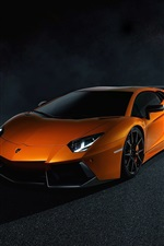 Preview iPhone wallpaper Lamborghini Aventador LP700-4 orange supercar, night, light