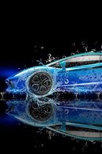 Preview iPhone wallpaper Lamborghini Aventador blue supercar, water splash, creative design