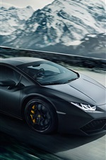 Preview iPhone wallpaper Lamborghini Huracan LP640-4 black supercar, speed, road