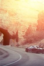 Preview iPhone wallpaper McLaren P1 supercar rear view, drift, smoke, sunset