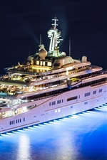 Mega yacht, night, lights