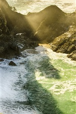 Preview iPhone wallpaper Monterey County, California, USA, McWay Falls, sea