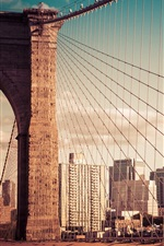Preview iPhone wallpaper New York City, Brooklyn bridge, building, USA