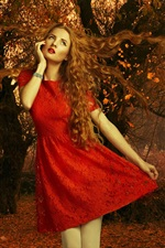 Red dress girl, autumn, leaves, trees
