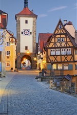 Preview iPhone wallpaper Rothenburg, Germany, evening, street, lights, houses
