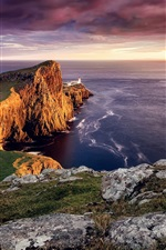 Preview iPhone wallpaper Scotland, Neist point, Skye island, lighthouse, sunset, sea