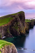 Preview iPhone wallpaper Scotland, Neist point, lighthouse, dawn, coast
