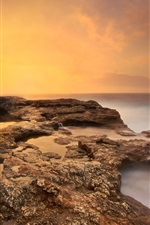 Preview iPhone wallpaper Sea, beach, rocks, morning, sunrise