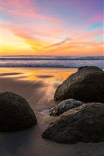 Preview iPhone wallpaper Sea, stones, sunset, beach