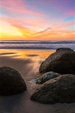 미리보기 iPhone 배경 화면 바다, 돌, 일몰, 해변