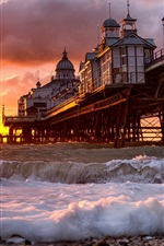 Preview iPhone wallpaper Sunrise, beach, pier, ocean, waves, buildings