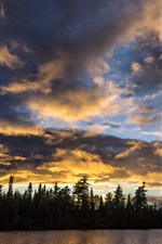 Sunset, lake, trees, clouds