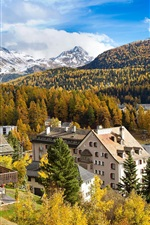 Preview iPhone wallpaper Switzerland, St. Moritz, mountain, trees, river, houses