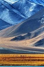 The Pamir mountains, lake, snow