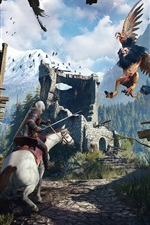 Preview iPhone wallpaper The Witcher 3: Wild Hunt, battle monster