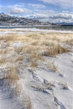 Preview iPhone wallpaper Thick snow, grass, winter, lake, mountains