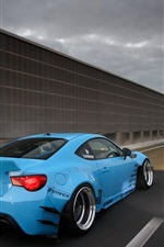 Preview iPhone wallpaper Toyota GT86 blue car rear view, highway