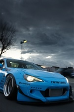 Preview iPhone wallpaper Toyota GT86 blue supercar front view