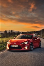 Preview iPhone wallpaper Toyota GT86 car, red color, sheep, houses
