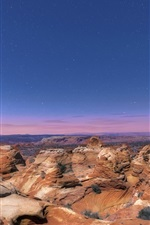 Preview iPhone wallpaper USA, Arizona, National Park, rocks, night, stars, blue sky