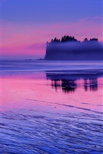 Preview iPhone wallpaper USA, Washington, Pacific ocean, sea water, pink sunset, clouds, blue