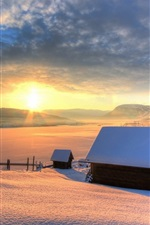 Preview iPhone wallpaper Winter, snow, house, mountains, sky, sun