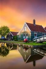 Preview iPhone wallpaper Zaanse Schans, Netherlands, bridge, house, windmill, canal, sunset