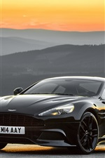Preview iPhone wallpaper 2014 Aston Martin black car, sunset