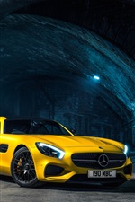 Preview iPhone wallpaper 2015 Mercedes AMG GT C190 yellow supercar