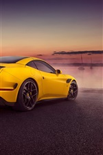 Preview iPhone wallpaper 2015 Pininfarina Ferrari California yellow supercar rear view