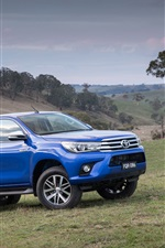 Preview iPhone wallpaper 2015 Toyota Hilux SR5 blue jeep