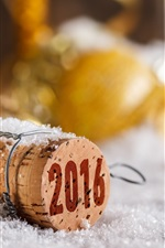 Preview iPhone wallpaper 2016 Happy New Year, bokeh, cork, snow