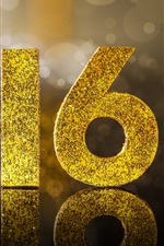 Preview iPhone wallpaper 2016 Happy New Year, golden glitter
