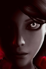 Preview iPhone wallpaper Alice: Madness Returns, girl, face, eyes, hair, petals