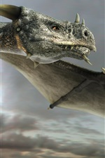 Preview iPhone wallpaper Art painting, dragon, flying, eyes, wings