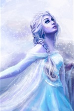 Preview iPhone wallpaper Art painting, girl, blue dress, cold, snow, blizzard
