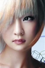 Preview iPhone wallpaper Asian girl, white hair, eyes, makeup