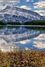 Preview iPhone wallpaper Banff National Park, Canada, lake, mountains, clouds